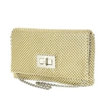 Jessica McClintock Ball Mesh Flap with Turn Lock - Light Gold
